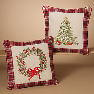 Holiday Throw Pillows with Wreath and Christmas Tree Holiday Accents, , rollover