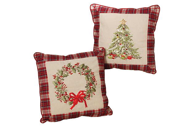 Holiday Throw Pillows with Wreath and Christmas Tree Holiday Accents, , large
