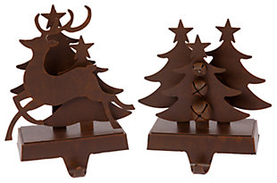 Holiday Brown Metal Traditional 3-Dimensional Stocking Holders, , large