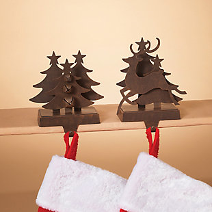 Holiday Brown Metal Traditional 3-Dimensional Stocking Holders, , rollover