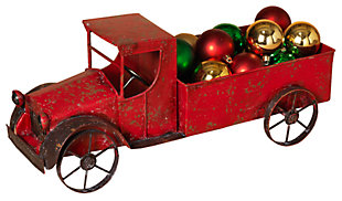 Holiday Red Metal Antique Truck with Empty Bed and Accented Wheels, , large