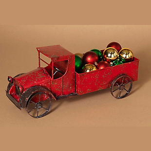 Holiday Red Metal Antique Truck With Empty Bed And Accented Wheels, , rollover