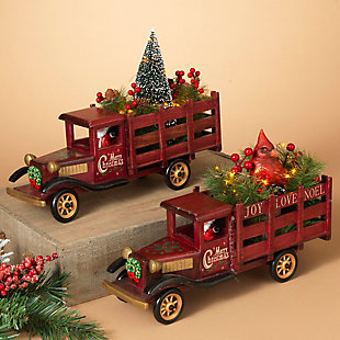 Holiday Lighted Wooden Antique Trucks (Set of 2), , rollover