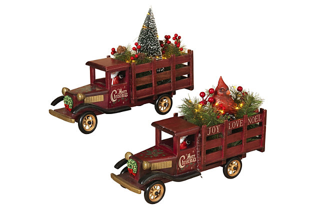 Holiday Lighted Wooden Antique Trucks (Set of 2), , large