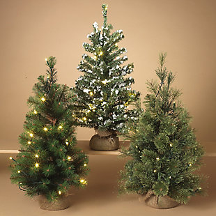 Holiday LED-Lighted Pine Trees with Burlap Base (Set of 3), , rollover