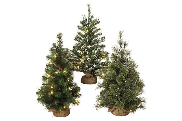 Holiday LED-Lighted Pine Trees with Burlap Base (Set of 3), , large