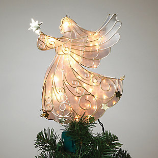 Holiday Lighted Angel Tree Topper in Frosty Glass with Gold Outline, , rollover