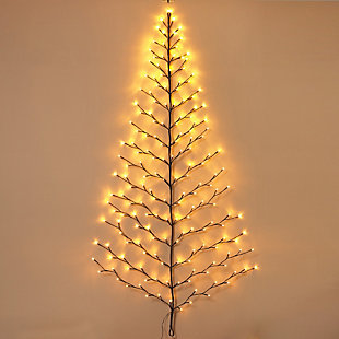 Holiday Tree-shaped Wall Hanging with LED Lights, , rollover