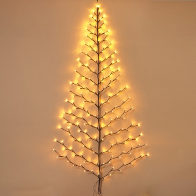 Holiday Tree-shaped Wall Hanging with LED Lights, , large