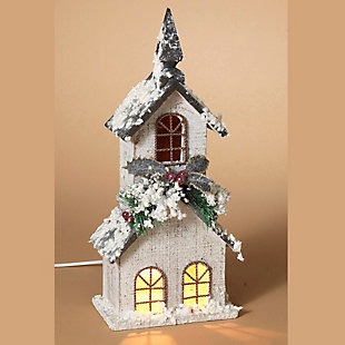 Holiday Lighted White Wood Church with Steeple and Seasonal Accents Figurine, , rollover