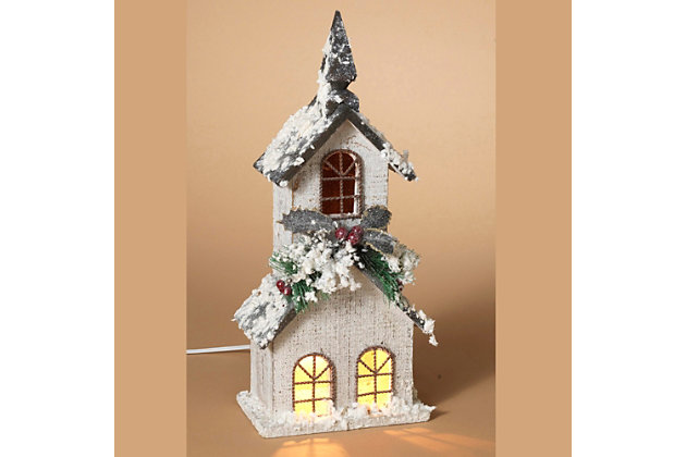 Holiday Lighted White Wood Church with Steeple and Seasonal Accents Figurine, , large