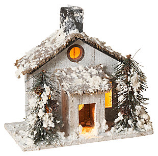 Holiday Lighted Snow-Covered Rustic Cottage Scene with Pine Trees, , large