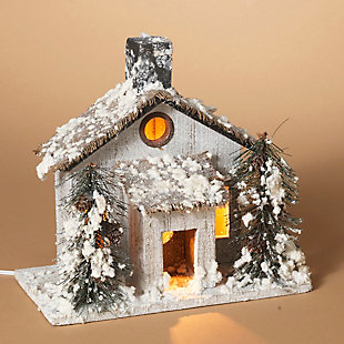 Holiday Lighted Snow-Covered Rustic Cottage Scene with Pine Trees, , rollover