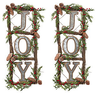 "Holiday Natural Twig ""JOY"" Door Wreaths (Set of 2), , large"