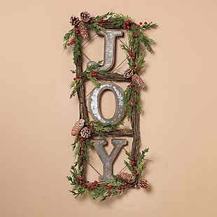 "Holiday Natural Twig ""JOY"" Door Wreaths (Set of 2), , rollover"