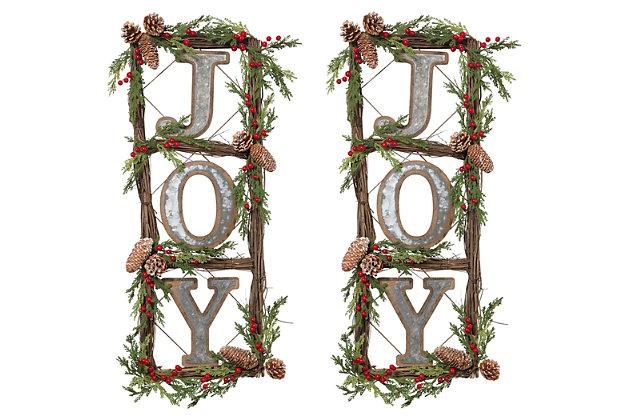 "Holiday Natural Twig ""JOY"" Door Wreaths (Set of 2), , large"