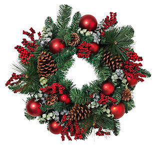 Holiday Pine Wreath with Ornaments, and Berry and Leaf Accents, , large