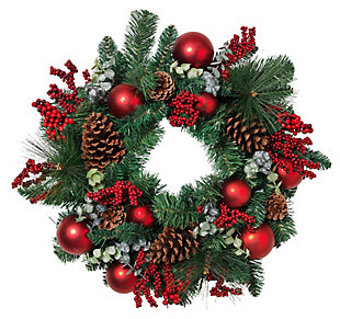 Holiday Pine Wreath with Ornaments, and Berry and Leaf Accents, , rollover