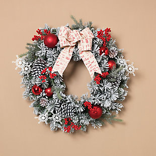 Holiday Accented Flocked Pine Wreath with Short/Long Needles, , rollover