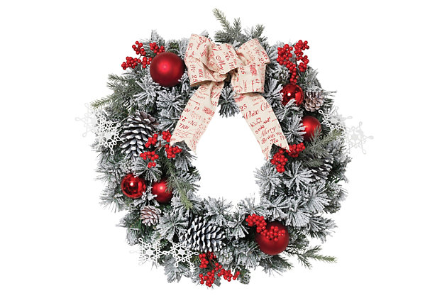 Holiday Accented Flocked Pine Wreath with Short/Long Needles, , large