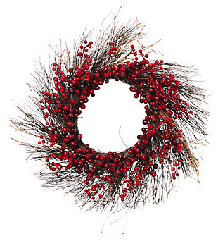 Holiday Natural Twig Holiday Wreath with Red Berries (Set of 2), , large