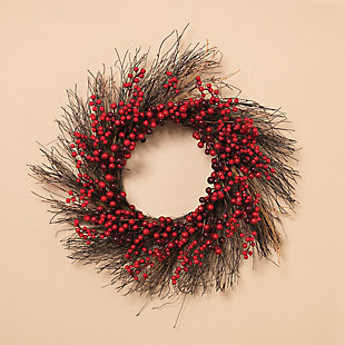 Holiday Natural Twig Holiday Wreath with Red Berries (Set of 2), , rollover