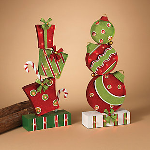 Holiday Stacked Presents and Ornaments Lighted Figurines (Set of 2), , rollover
