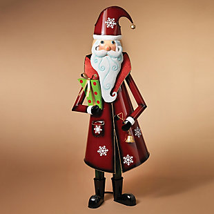 Holiday Metal Santa Figure with Gold Bell and Green Present, , rollover