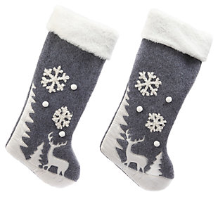 Holiday Grey and White Fabric Winter Scene Stockings (Set of 2), , large