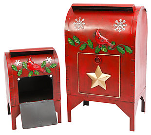 Holiday Red Cardinal Vintage Mail Boxes with Door (Set of 2), , large