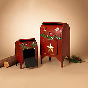 Holiday Red Cardinal Vintage Mail Boxes with Door (Set of 2), , rollover