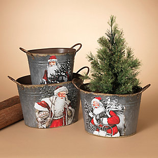 Holiday Galvanized Metal Holiday Containers (Set of 3), , rollover