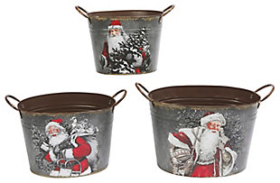 Holiday Galvanized Metal Holiday Containers (Set of 3), , large