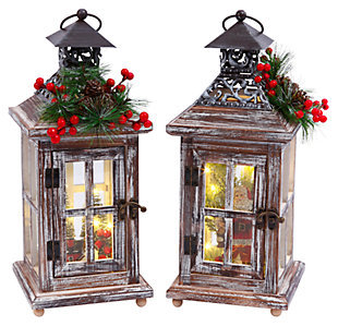 Holiday Wood Lanterns with Lighted Holiday Scenes (Set of 2), , large