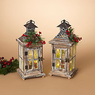Holiday Wood Lanterns with Lighted Holiday Scenes (Set of 2), , rollover