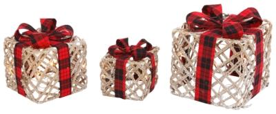 Ashley Holiday Lighted Filigree Holiday Gift Boxes (Set o...