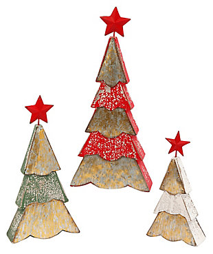 Holiday Wood And Metal Holiday Trees (set Of 3), , large