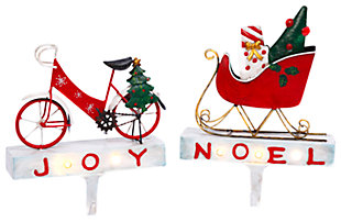 Holiday Lighted Metal Bicycle and Sled Stocking Holders (Set of 2), , large