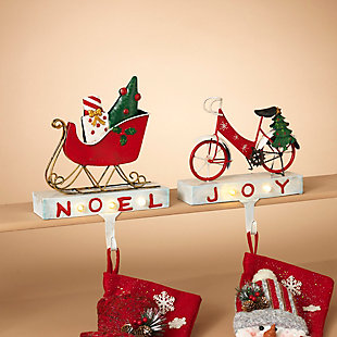 Holiday Lighted Metal Bicycle and Sled Stocking Holders (Set of 2), , rollover