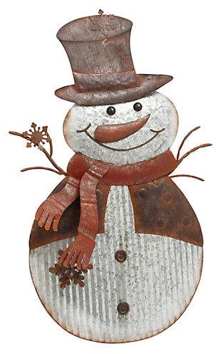 Holiday Standing Galvanized Metal Snowman Porch Accent with Easel, , large