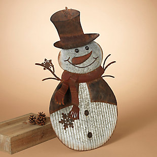 Holiday Standing Galvanized Metal Snowman Porch Accent with Easel, , rollover