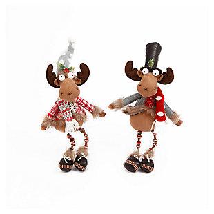 Holiday Plush Sitting Holiday Moose Figurines (Set of 2), , large