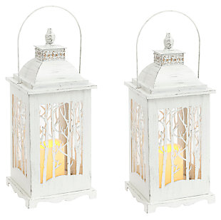 Holiday Lighted Metal and Glass Winter Forest Lanterns (Set of 2), , large