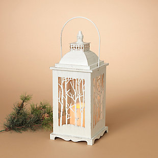 Holiday Lighted Metal and Glass Winter Forest Lanterns (Set of 2), , rollover