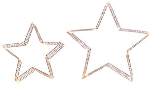 Holiday Lighted Holiday Gold Glitter Stars (Set of 2), , large