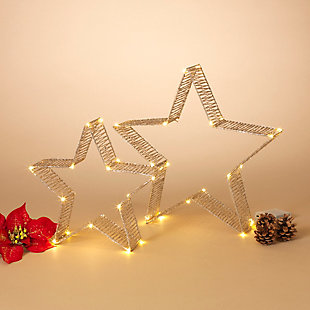 Holiday Lighted Holiday Gold Glitter Stars (Set of 2), , rollover