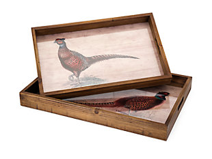 Fall Harvest Pheasant Trays (Set of 2), , rollover