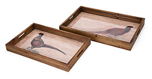 Fall Harvest Pheasant Trays (Set of 2), , large