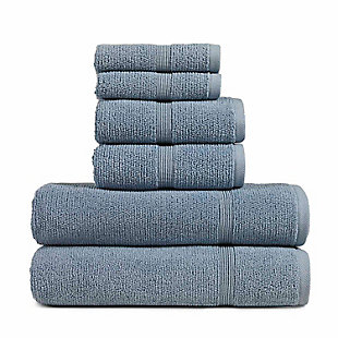 Rice Effect  Turkish Aegean Cotton Towel Set of 6 (Steel Blue), , large