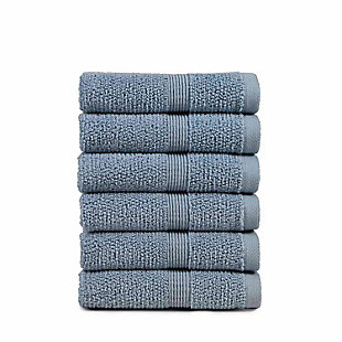 Rice Effect  Turkish Aegean Cotton Washclosths Towel Pack of 6 (Steel Blue), , rollover